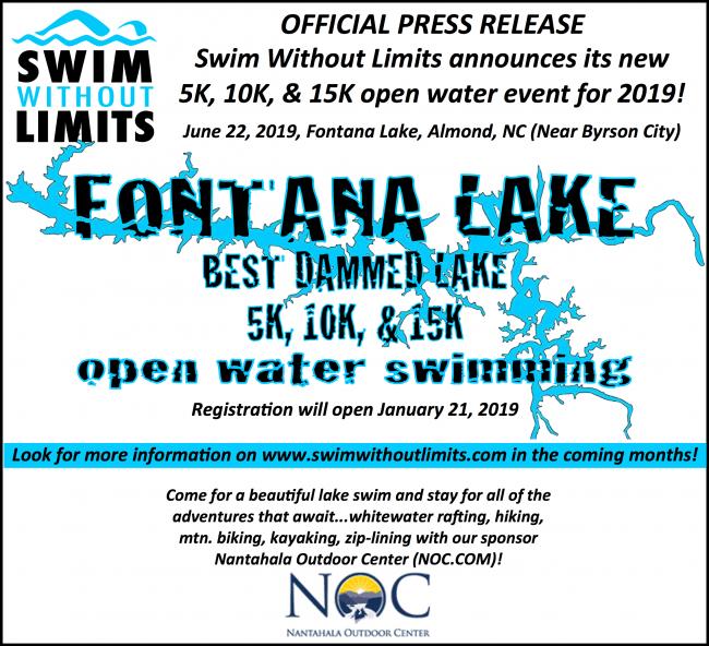 NEW open water race: Fontana Lake 5K, 10K, 15K in N Carolina